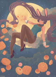 Moon Bunny. by yevonyasuko