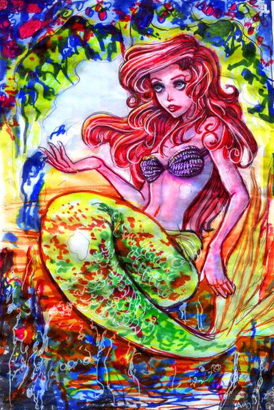 Ariel +Crayola Marker Tutorial by emilynguyenart
