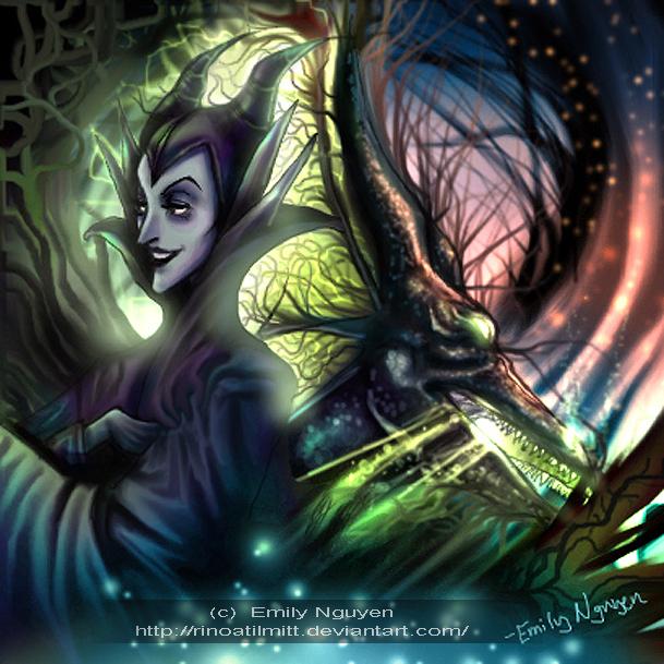 Maleficent of Sleeping Beauty by emilynguyenart