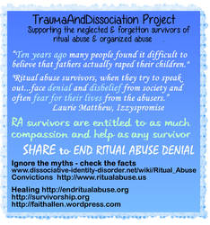 Support survivors of all forms of ritual abuse by DIDisReal