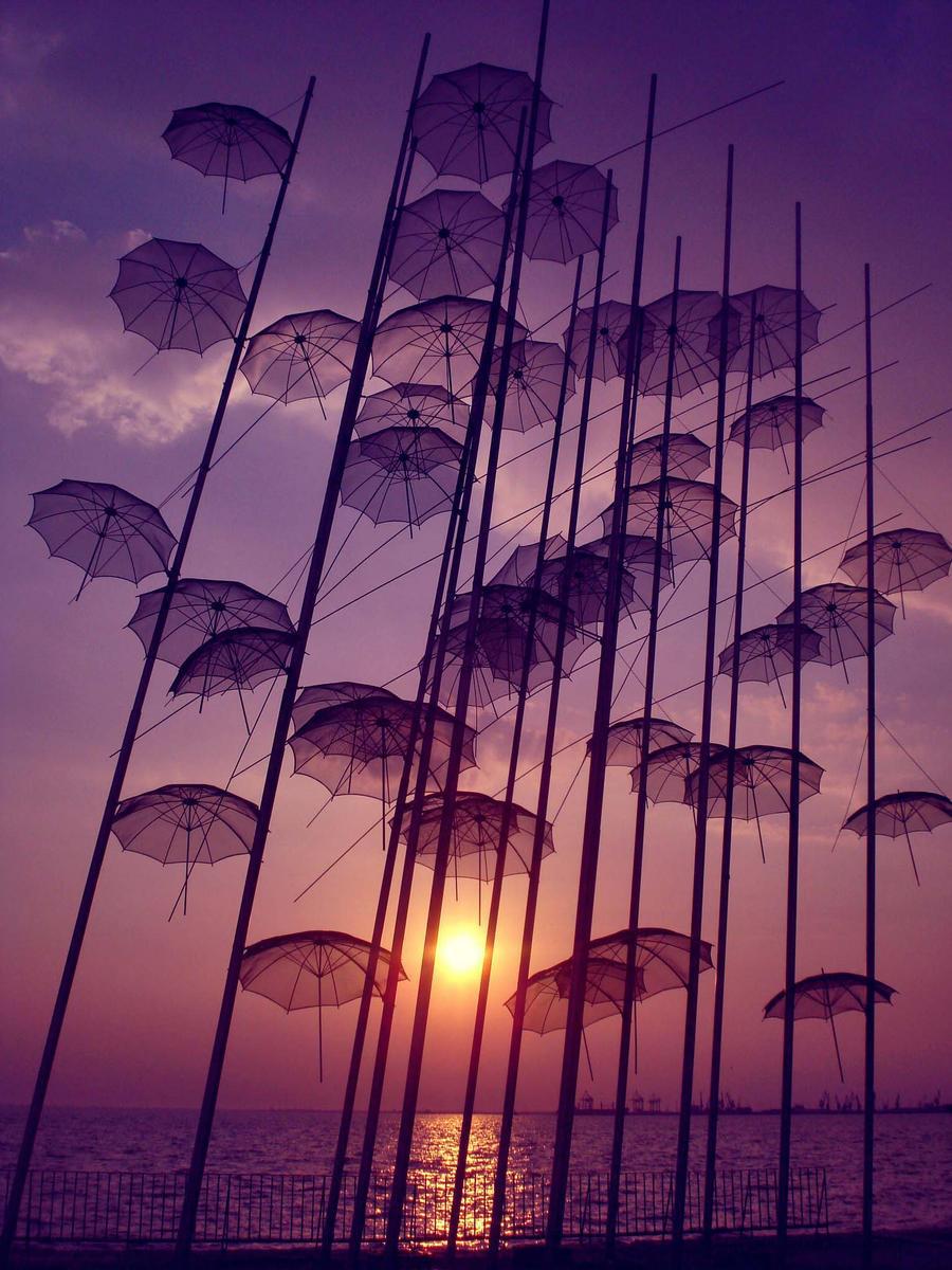 Flying umbrellas by Sandrita-87