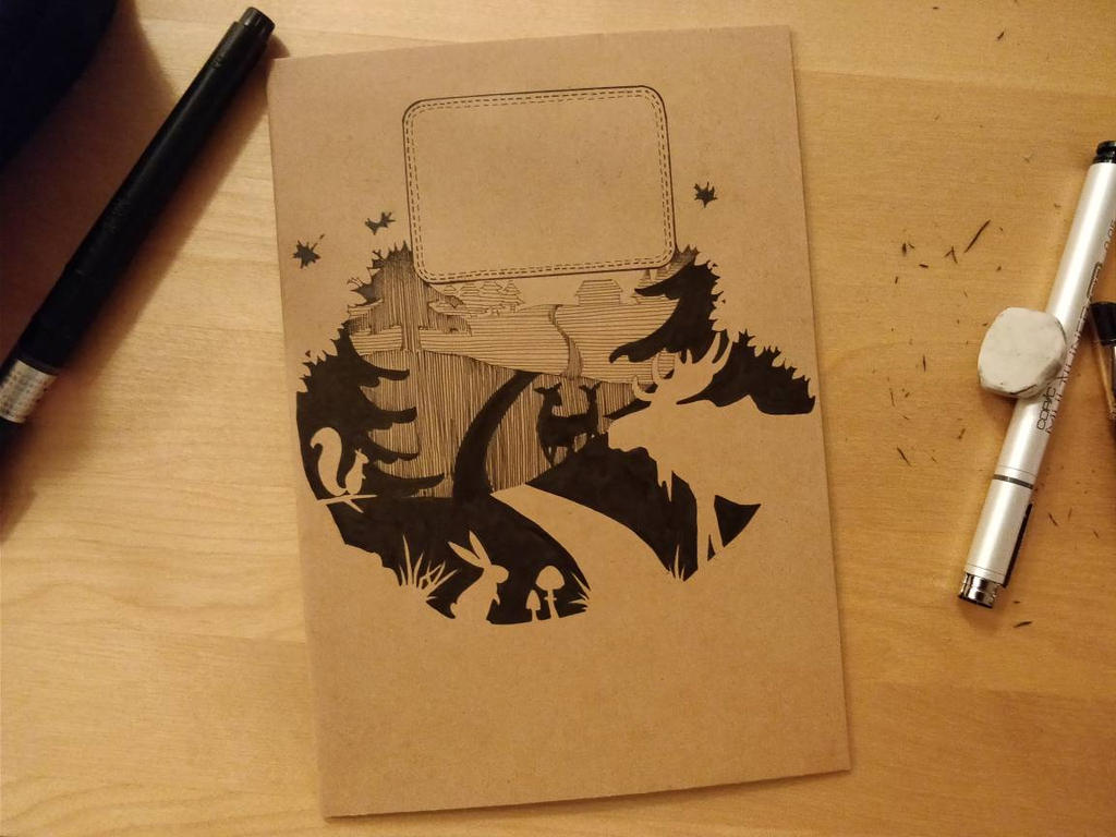 Papercut like cover for notebook by reya-desu
