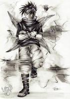 Sasuke Against the Wall by Greymaulkin