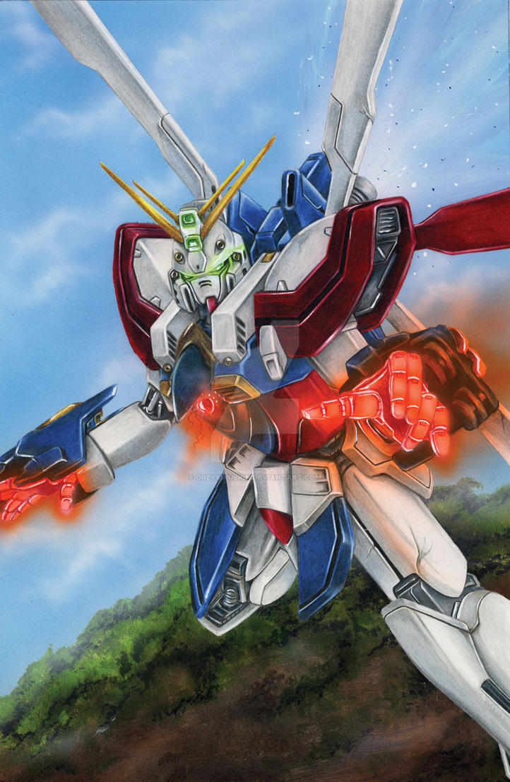Burning Gundam by Greymaulkin