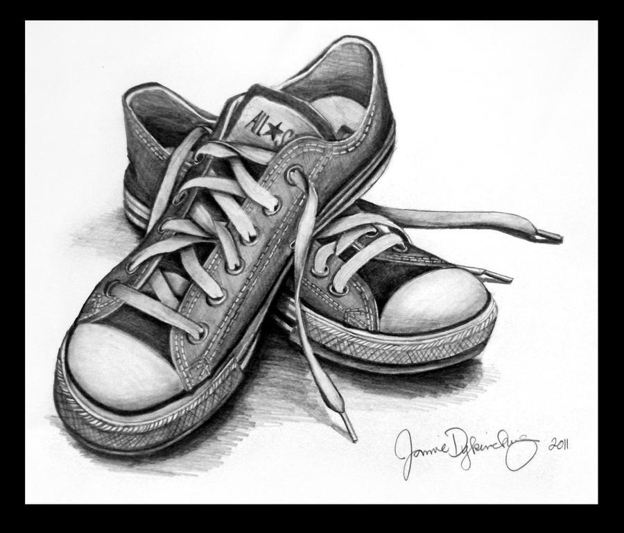 Lakaran reka bentuk kasut kanvas