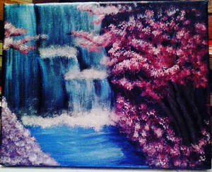 Cherry blossoms and waterfall landscape