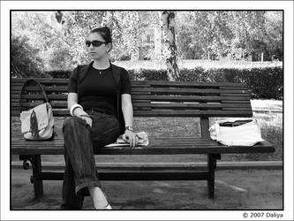 Sitting on the bench by daliyak