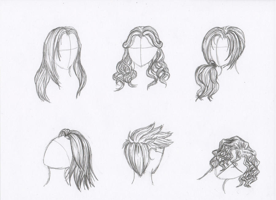 Pencil sketches of hair by rozen guarde