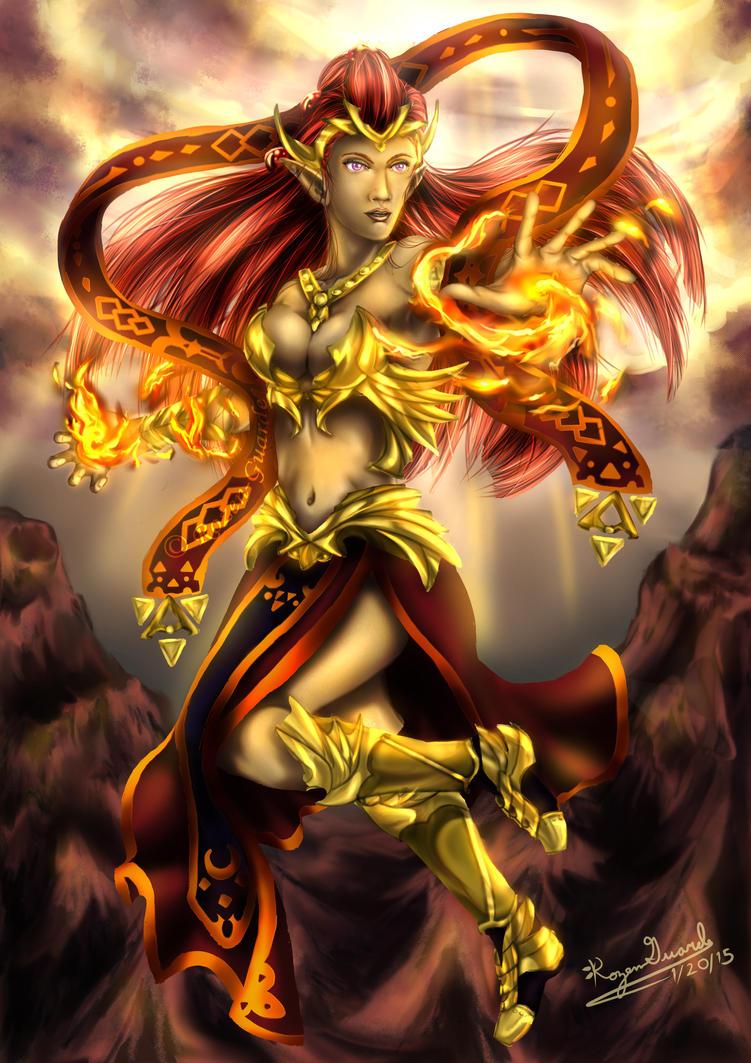 Legend of Zelda:  The Golden Goddess Din by Rozen-Guarde
