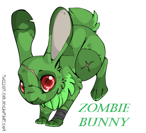Zombie Bunny by LoneMoonHunter