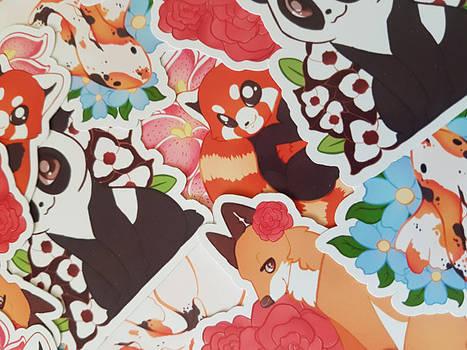 Panda Bear / Fox / Red Panda / Fish Stickers