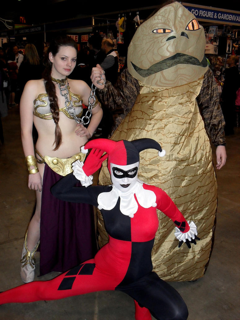 Jabba, Slave Leia and Harley by theprincessbee