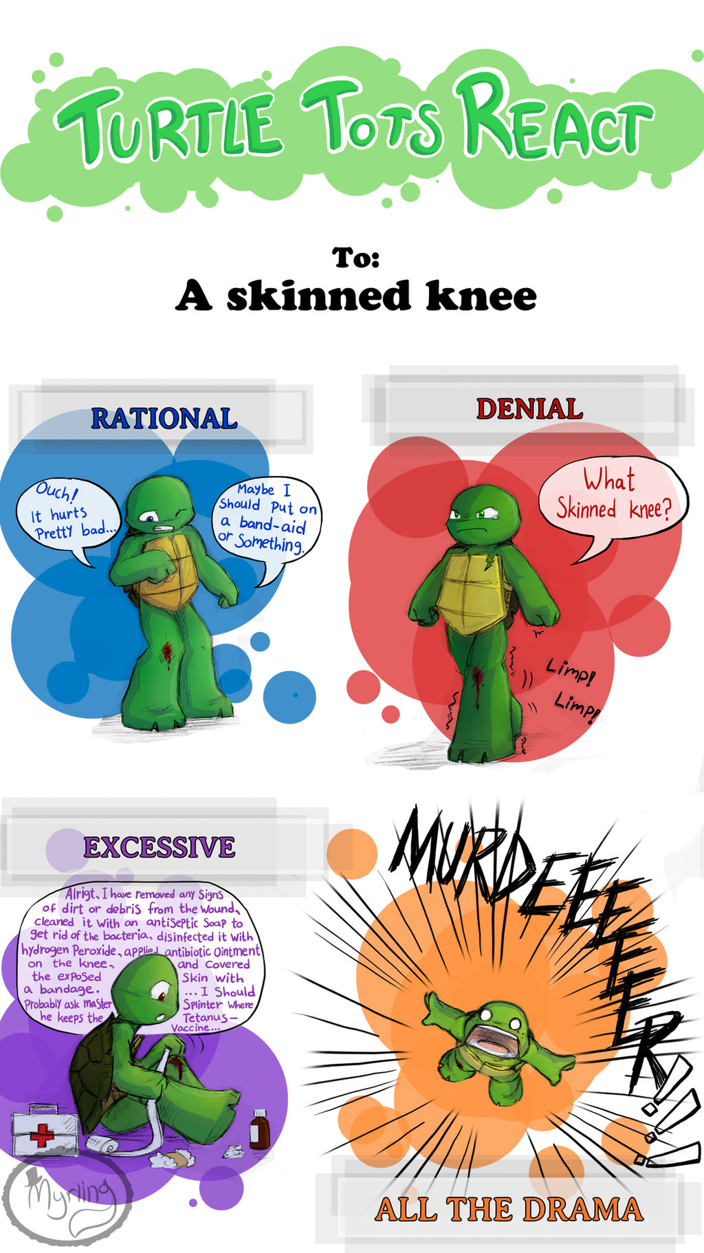 Turtle Tots React - Skinned knee