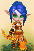 Comm: Chibi Blood Elf Hunter by lowly-owly