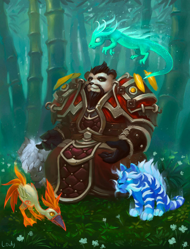 Pandaren and his pets by lowly-owly