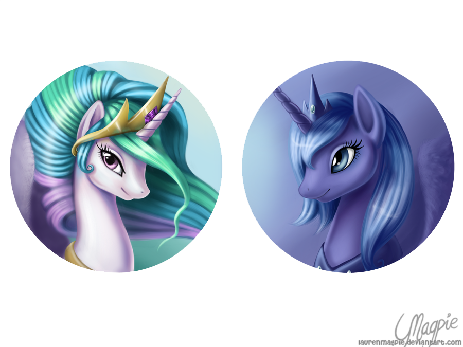 Princess Celestia and Luna by LaurenMagpie