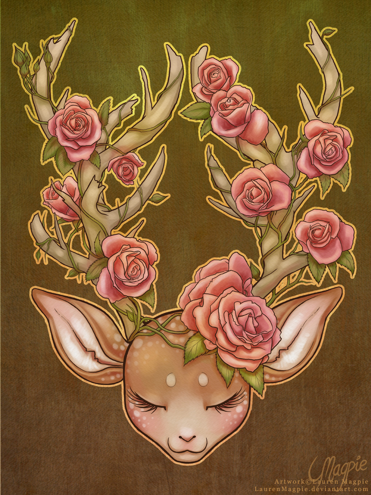 Sleeping Deer by LaurenMagpie
