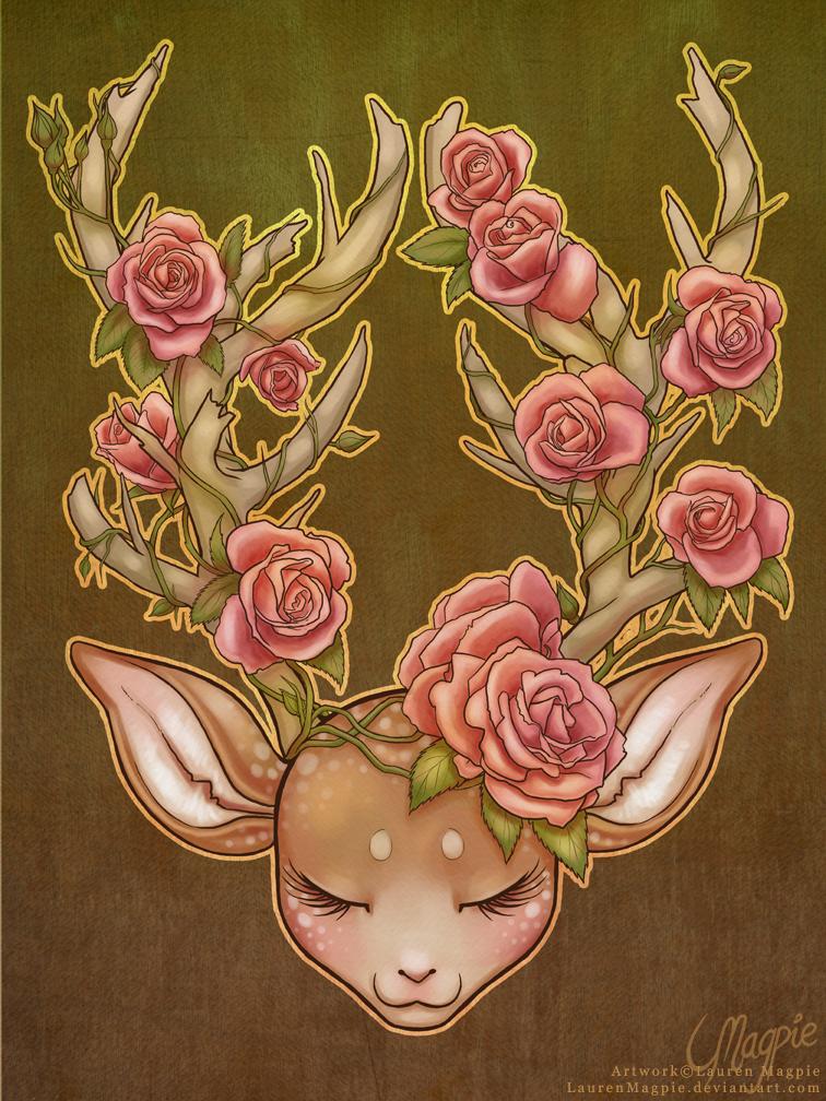 Sleeping Deer by LaurenMagpie