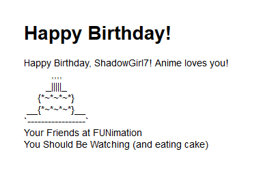 Birthday message from Funimation! by ShadowGirl7