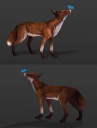 Lowpoly handpainted Fox