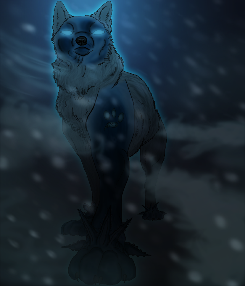 Black wolf with blue eyes drawing - photo#24