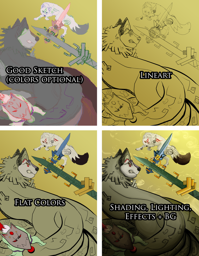 Okami A Dance of Swords Process Images by Black-Tiger-of-Evil