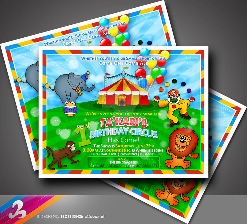 1st Birthday Circus Invitation By Anotherbcreation On Deviantart