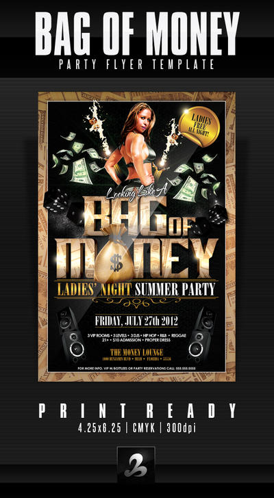 Bag Of Money Party Flyer Template By AnotherBcreation On DeviantArt - Money flyer template