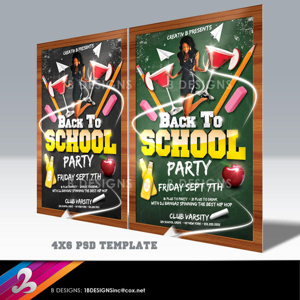 Back To School Party Flyer Template By Anotherbcreation On Deviantart