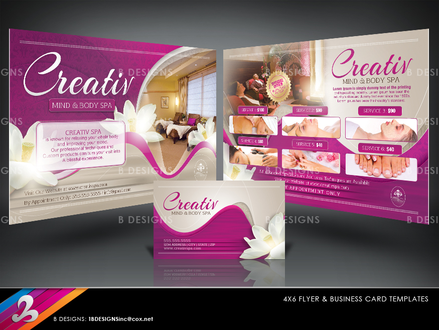 Deluxe Spa Flyer And Business Card Templates By