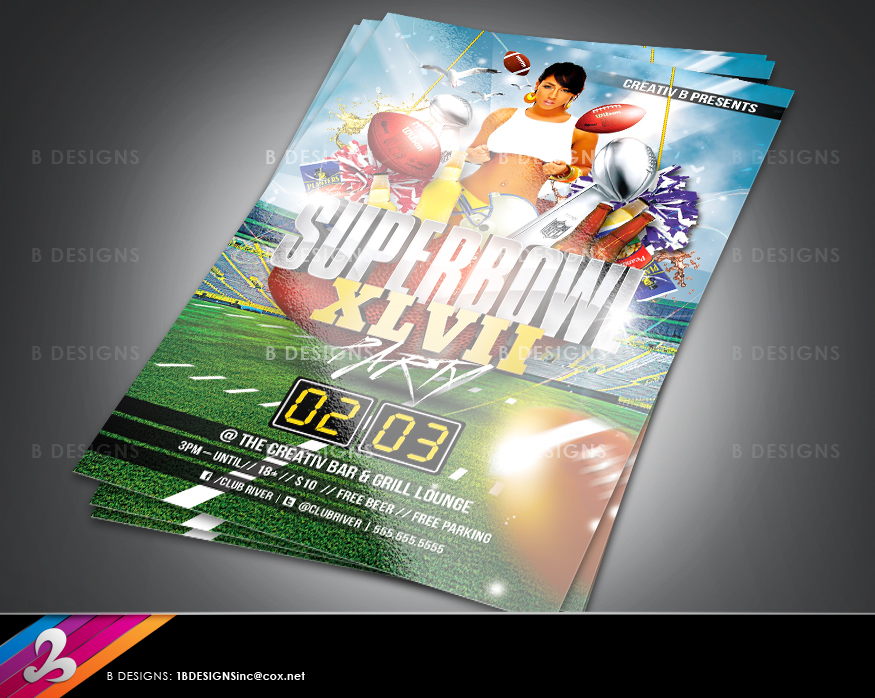 Super Bowl Party Flyer Template by AnotherBcreation