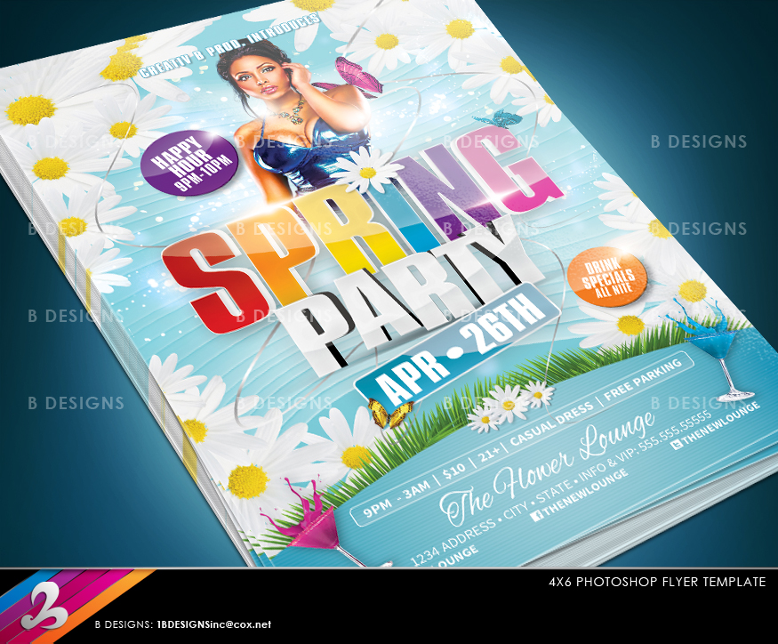 Spring Party Flyer Template By Anotherbcreation On Deviantart