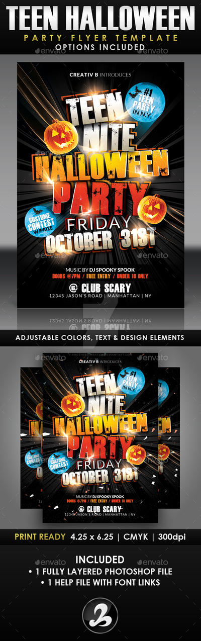 Teen Halloween Party Flyer Template by AnotherBcreation