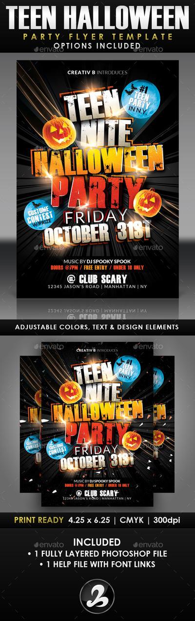 Teen Halloween Party Flyer Template