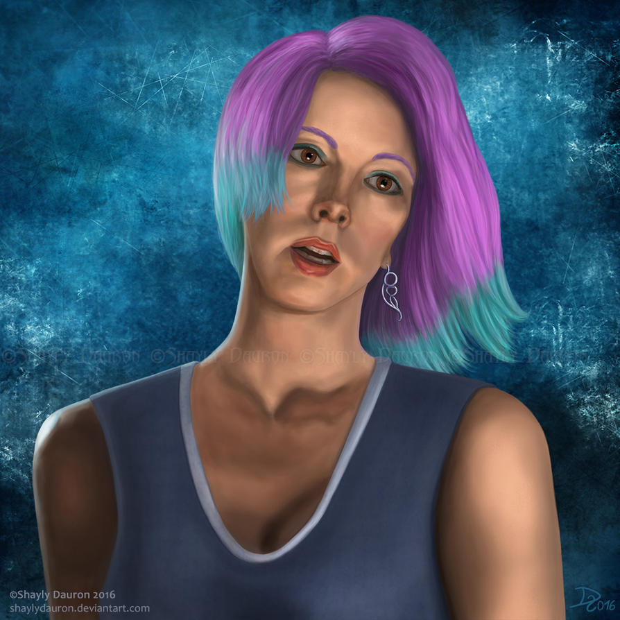 Purple haired girl by ShaylyDauron