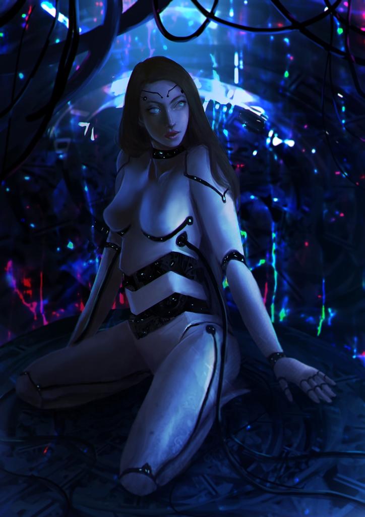 Cyborg Girl [ commission ] by cennie