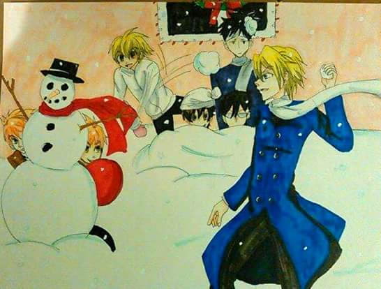 Ouran highschool host club snowball fight by atem15