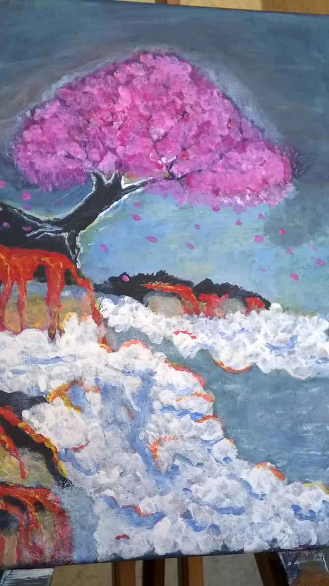 Sakura tree and the lava (30x24 cm) by orenjisakura87