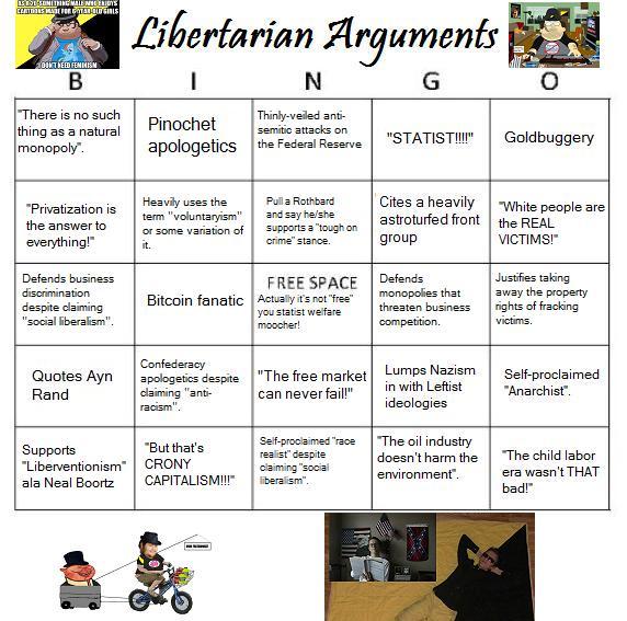 Libertarian Arguments Bingo by oo-o-o-o-o-o-o-oo