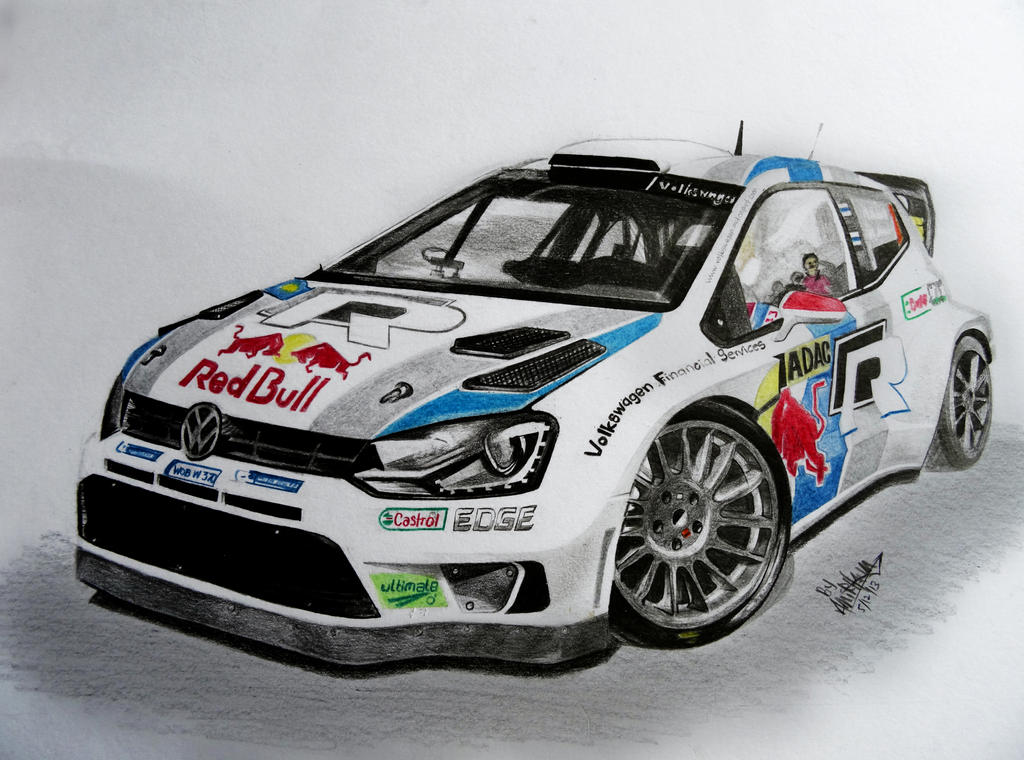 pencil colour drawingvw rally polo r by neveramez on