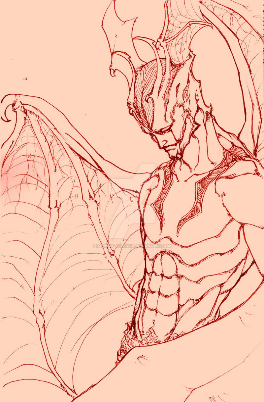 Devilman uncolored by Dane-of-Celestia