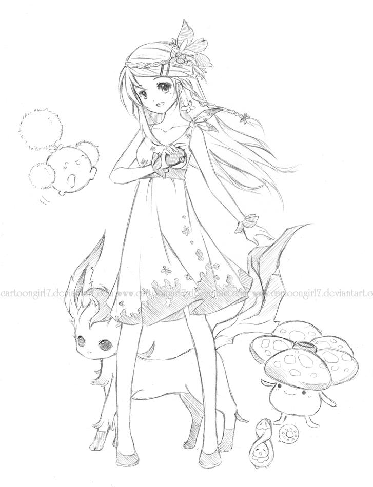 pokemon grass trainer by cartoongirl7 on deviantart
