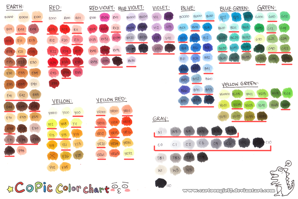 Copic Color Chart 2010 By Cartoongirl7 On Deviantart