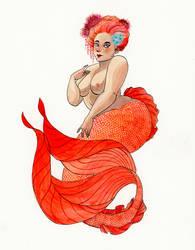 Orange-coral Mermaid by reneenault