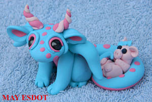 Baby Polymer Clay Dragon and Piggie by MayEsdot