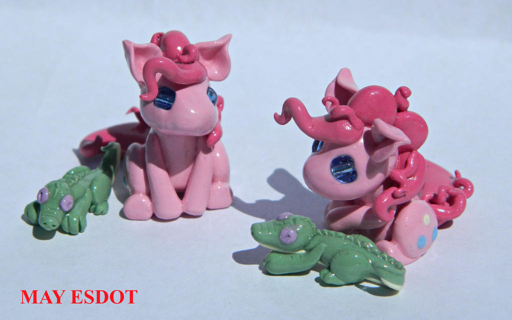 Twin Herpy Pinkies: MLP  Miniature Sculptures by MayEsdot