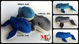 Whale Plushies in Blue and Gray