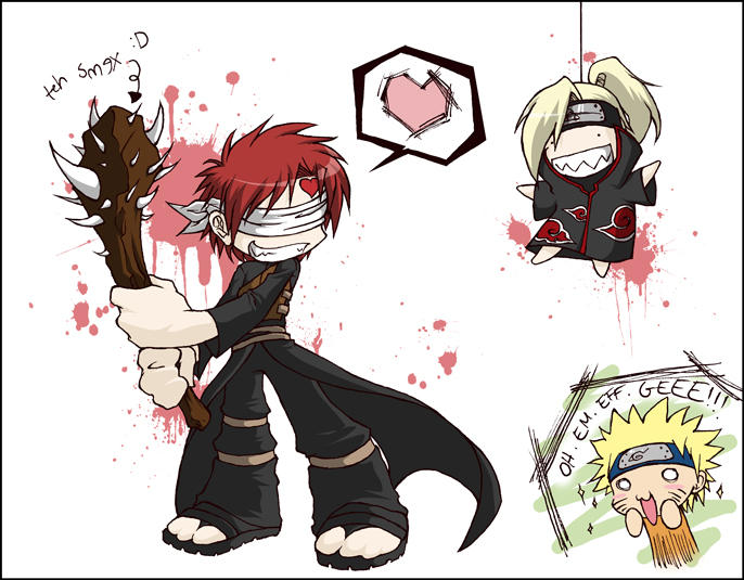 Gaara vs Deidara... sort of by shadow-freak