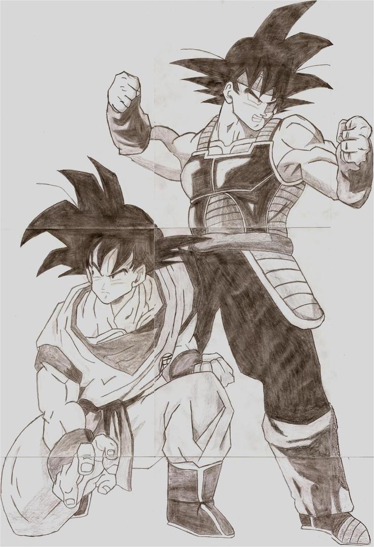 how to draw bardock and goku meet