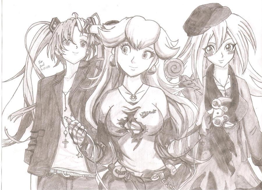 Miku, Peach and Dark Magician Girl